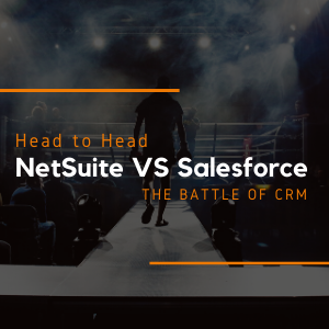a man with boxing gloves walking towards a boxing ring with a heading over the image saying: head-to-head NetSuite vs Sales force the battle of CRM